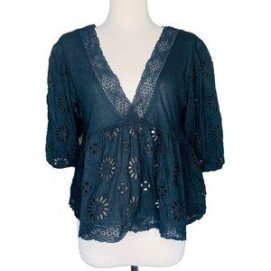 Free People Womens Blouse XS Sweeter Side V Neck